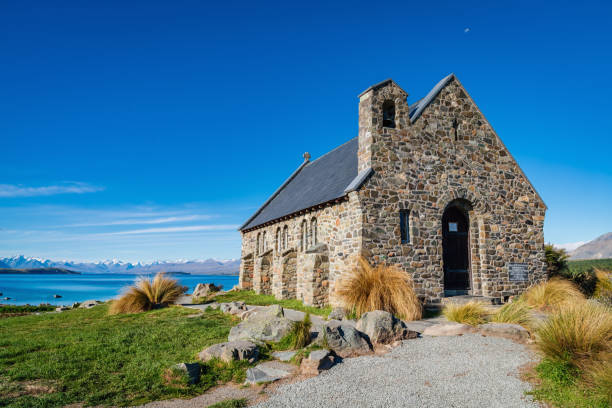 Lake Tekapo Church of the Good Shepherd, New Zealand stock photo