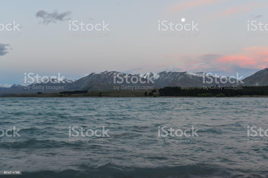 Lake Tekapo with snowy mountains stock photo