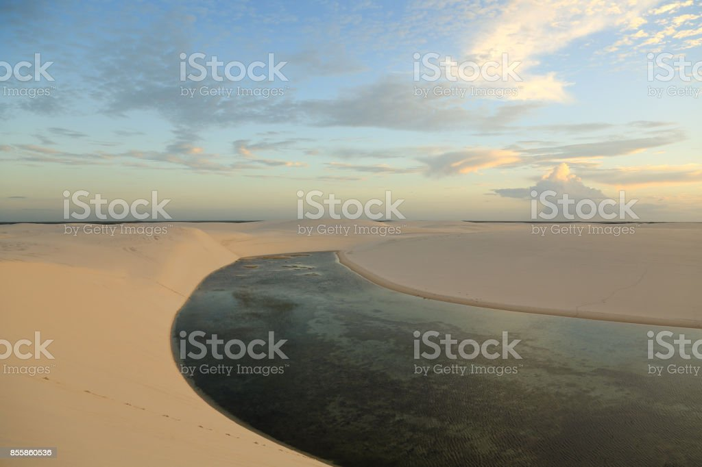 Lake that look like a river stock photo