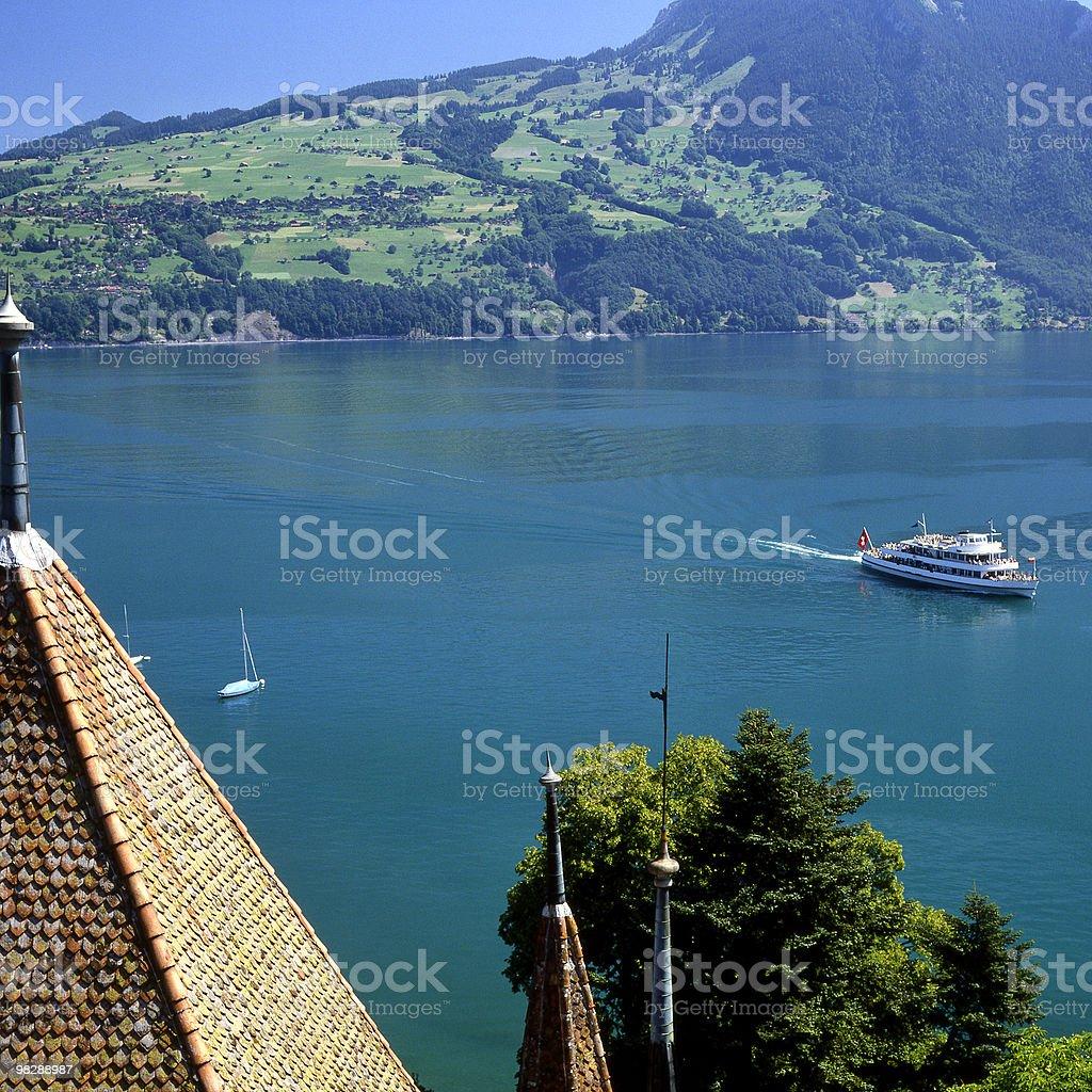 Lake Thun from Spiez in Switzerland stock photo