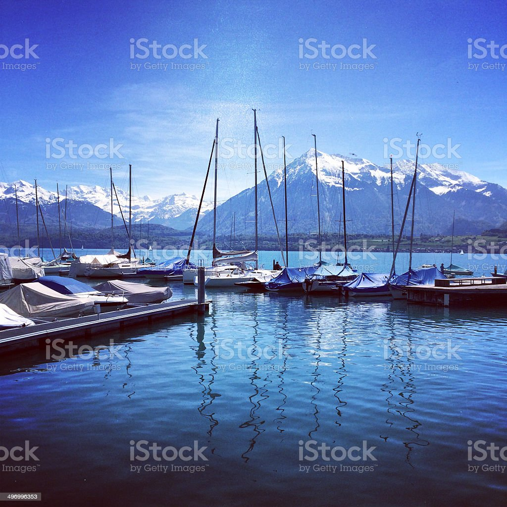 Lake Thuna, Alps,  Switzerland stock photo