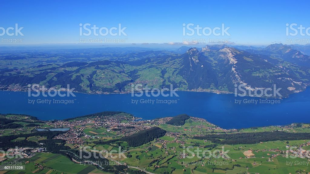 Lake Thunersee, Spiez and Mt Niederhorn stock photo