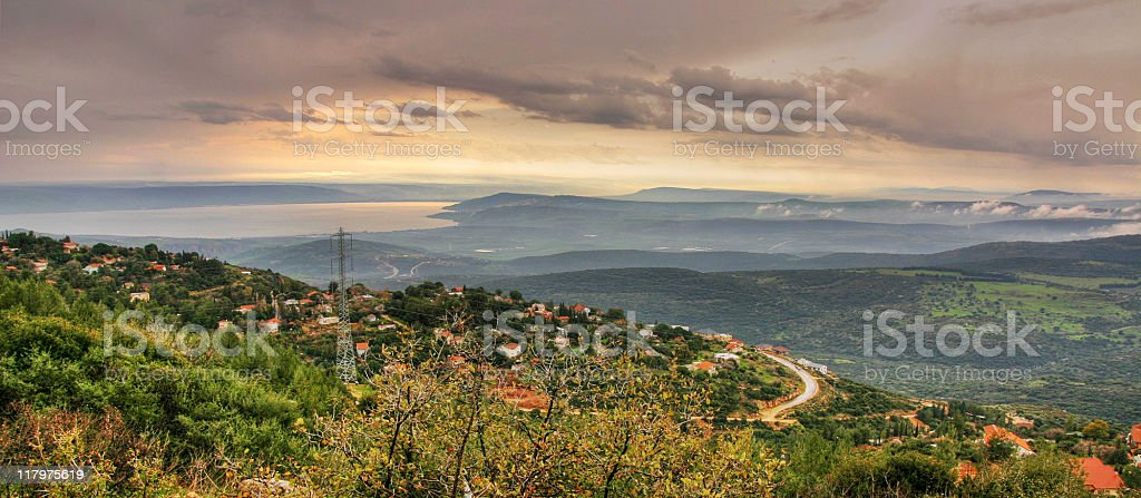 Lake Tiberius from Galilee mountains royalty-free stock photo