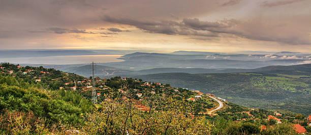Lake Tiberius from Galilee mountains stock photo