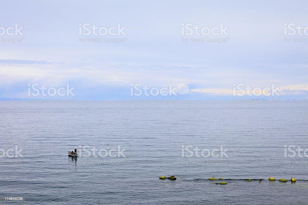 Lake Titicaca Fisherman royalty-free stock photo