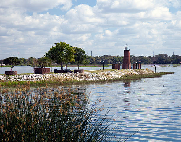 lake toho lighthouse jetty park - kissimmee stock photos and pictures