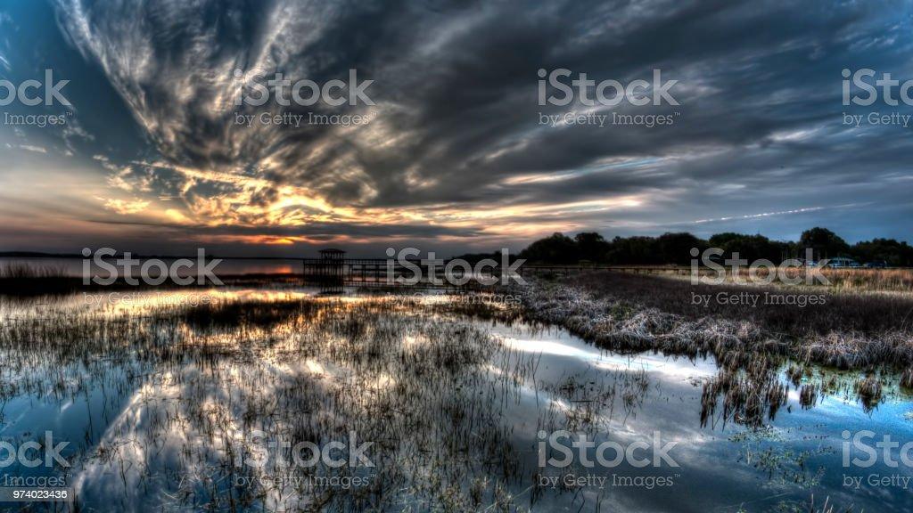 Lake Tohopekaliga at sunset stock photo