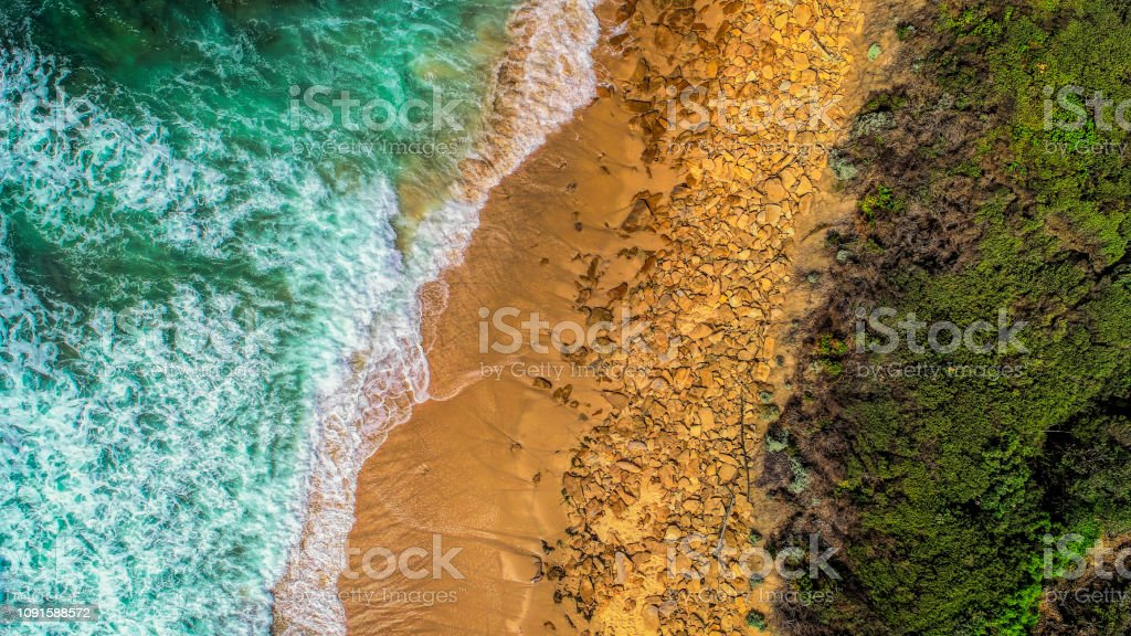 Lake Tyers Beach from above - Royalty-free Aerial View Stock Photo