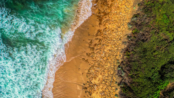 Lake Tyers Beach from above stock photo