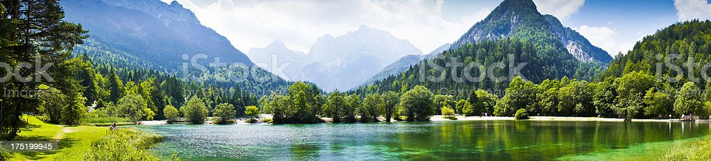 Lake under mountains, Triglav National Park, Julian Alps, Slovenia, landscape royalty-free stock photo