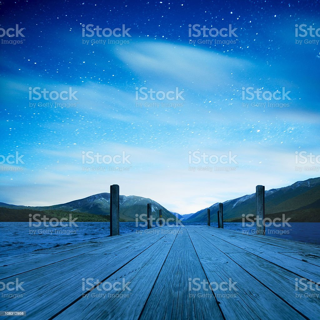 Lake under the stars royalty-free stock photo