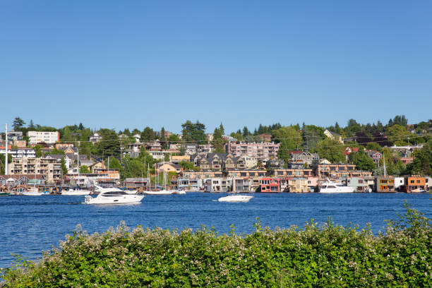 Lake Union and Eastlake Floating Homes, Seattle stock photo