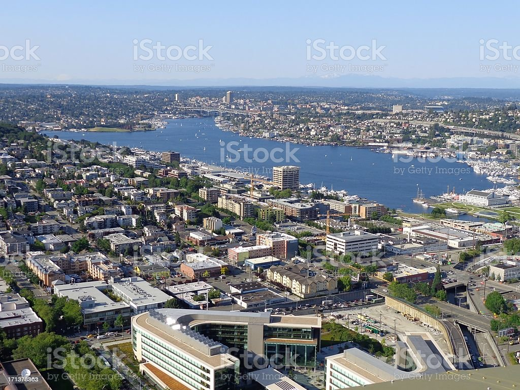 Lake Union as seen from Seattle, Washington Space Needle stock photo
