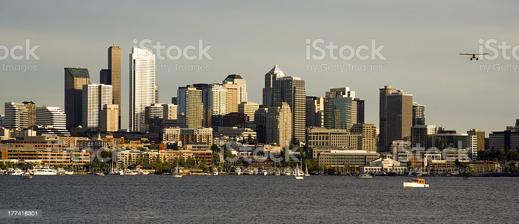 Lake Union City Skyline West Coast Seattle WA USA stock photo