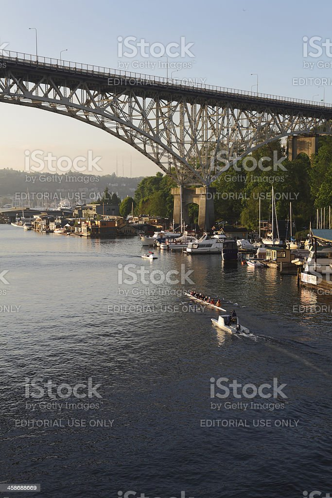 Lake Union Rowing Practice, Seattle, Washington stock photo