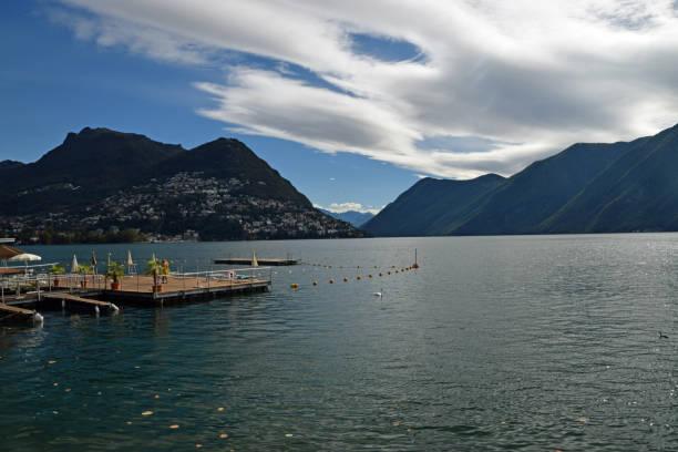 Lake view in Lugano stock photo