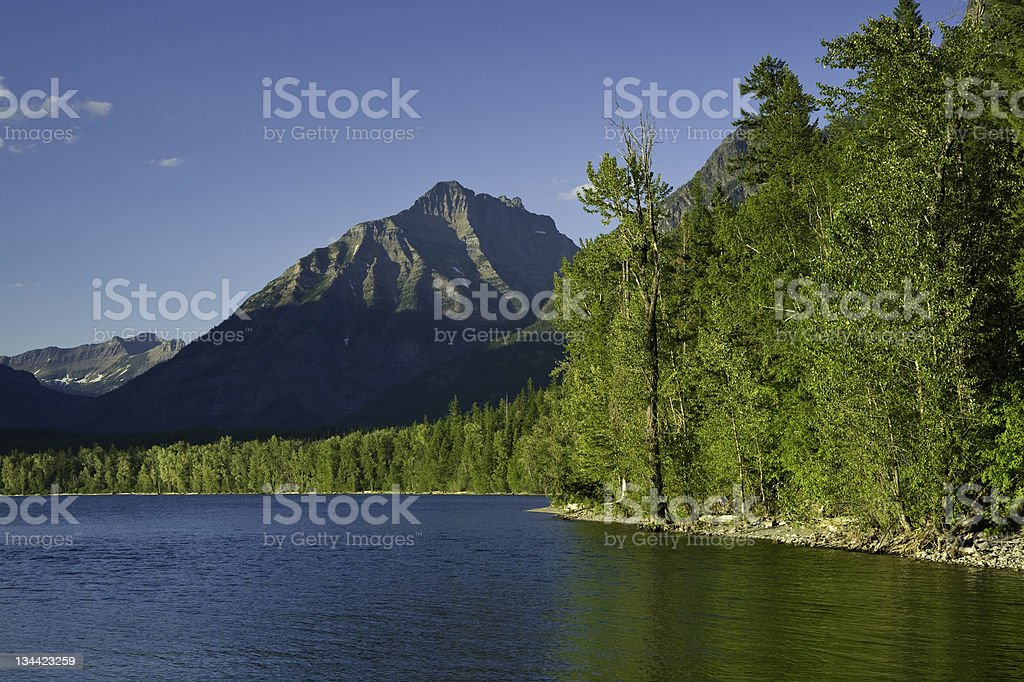 Lake View Majestic Peaks of the Glacier National Park Montana royalty-free stock photo