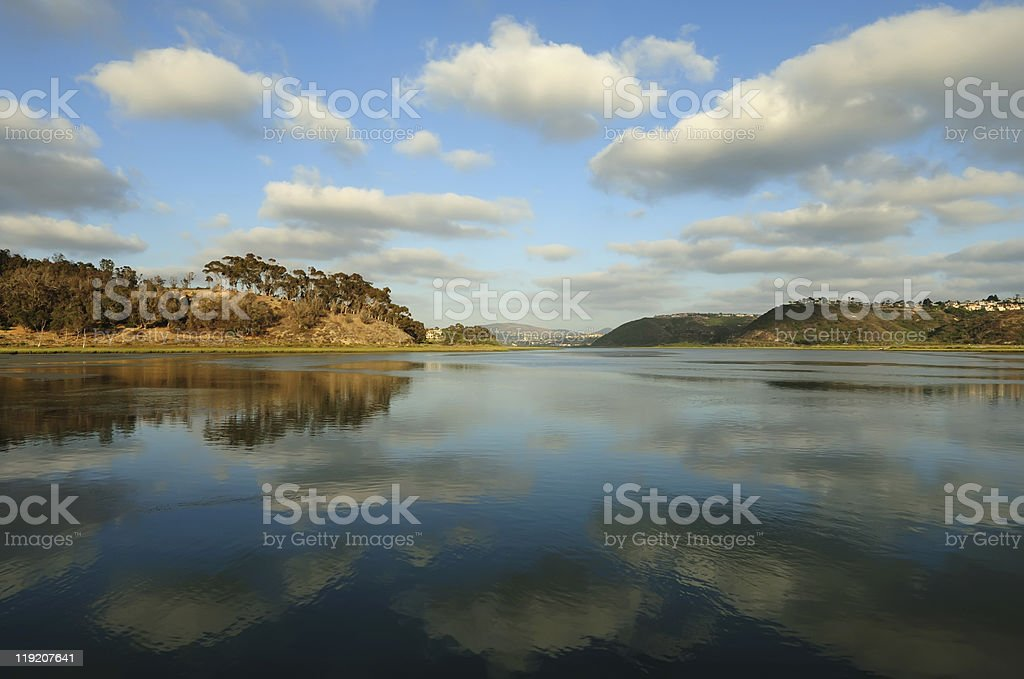 Lake view of Carlsbad on a clear day stock photo