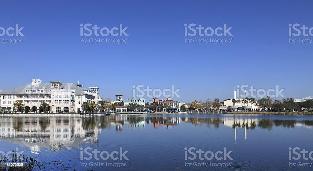 Lake View of Downtown Celebration royalty-free stock photo