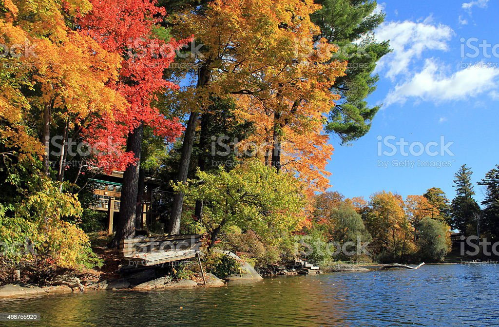 Lake view of fall foliage in Berkshire stock photo