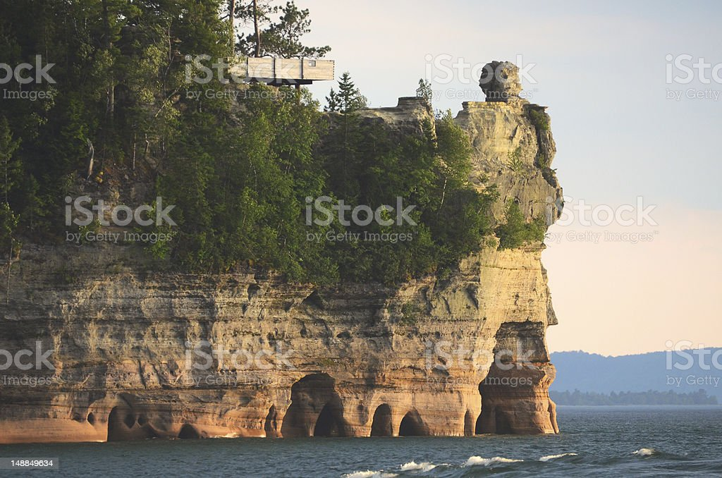 Lake View of Miners Castle at Pictured Rocks National Lakeshore stock photo