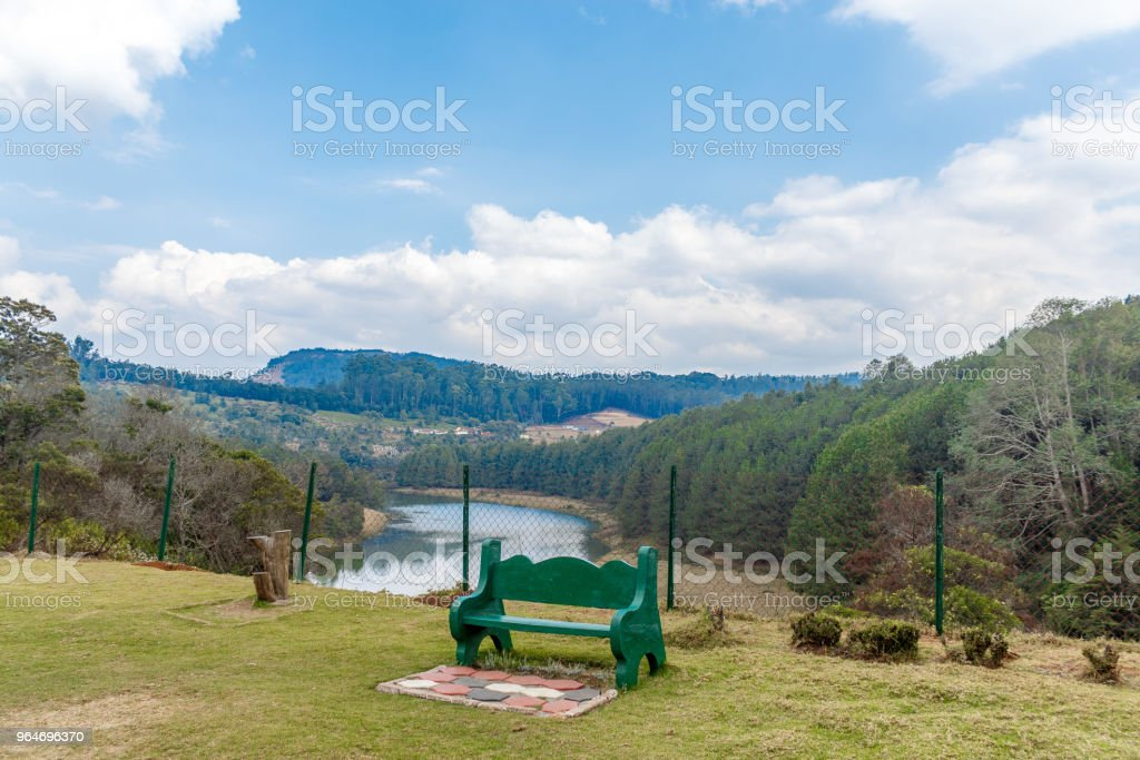 Lake view Ooty with unoccupied seat royalty-free stock photo