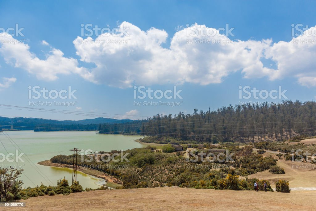 Lake view point with clouds and huge trees royalty-free stock photo