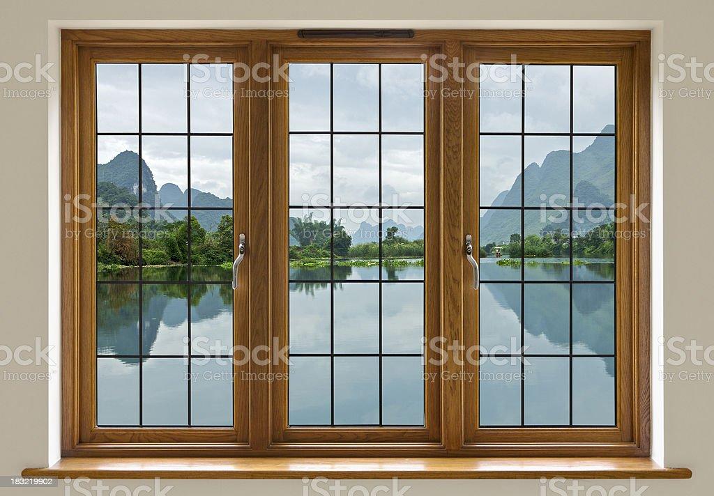 lake view through leaded glass window royalty-free stock photo