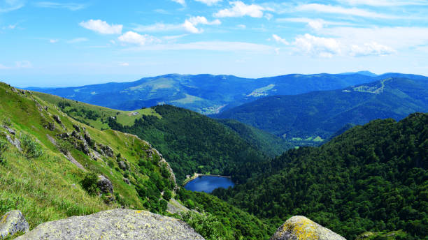 Lake view with alpine background, Vosges, Alsace, France Alsace and espacially the vosges feature a lot of small lakes like the lac noir. grand est stock pictures, royalty-free photos & images