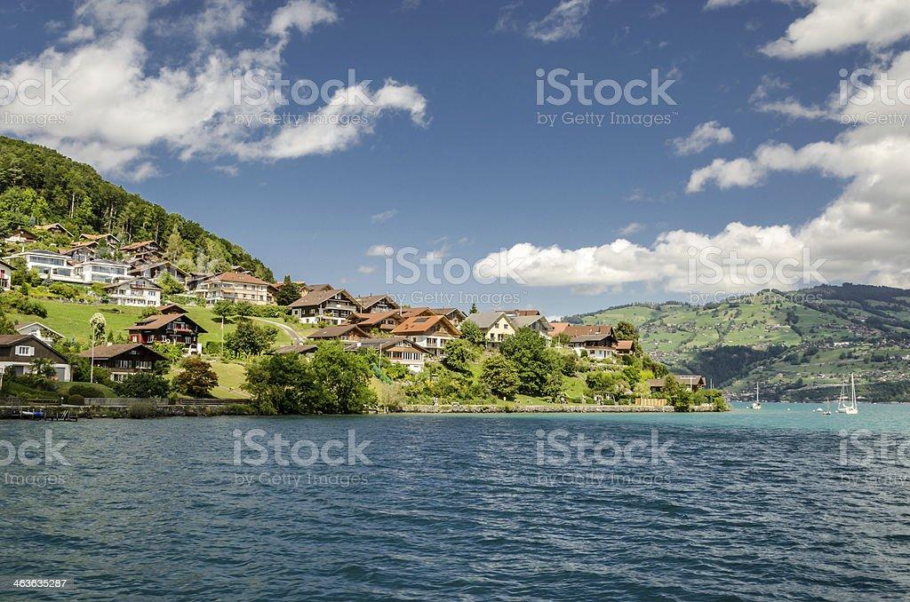 Lake village stock photo