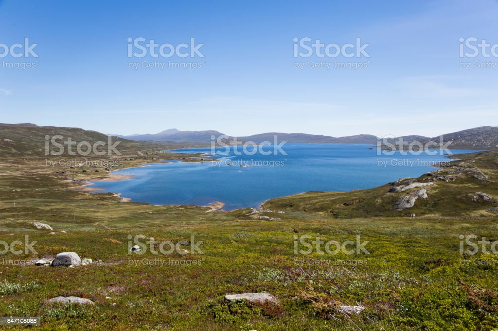 Lake Vinstre seen from County Road 51 (Valdresflye, Oppland, Norway) stock photo