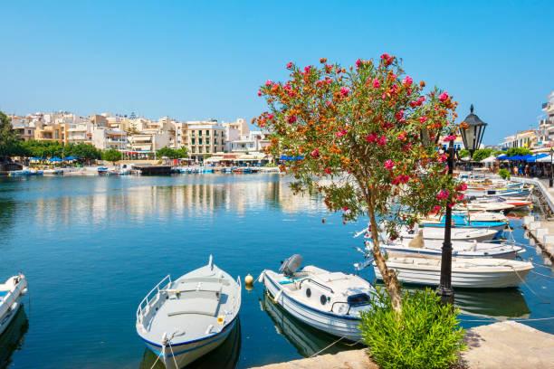 Lake Voulismeni. Agios Nikolaos, Crete, Greece stock photo