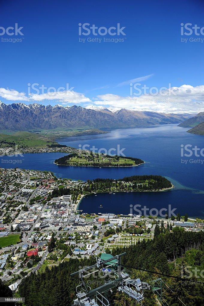 Lake Wakatipu and Queenstown, New zealand stock photo