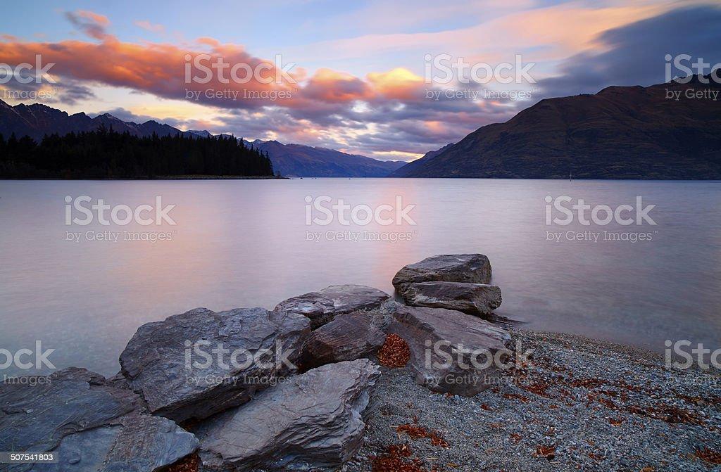 Lake Wakatipu At Dusk stock photo