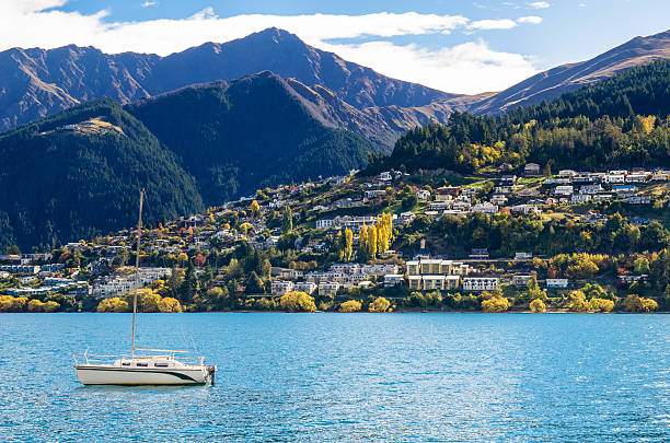 Lake Wakatipu in Queenstown, New Zealand. stock photo