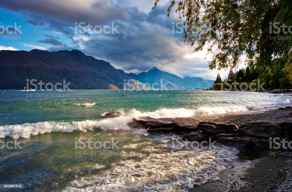 Lake Wakatipu Near Queenstown In New Zealand stock photo