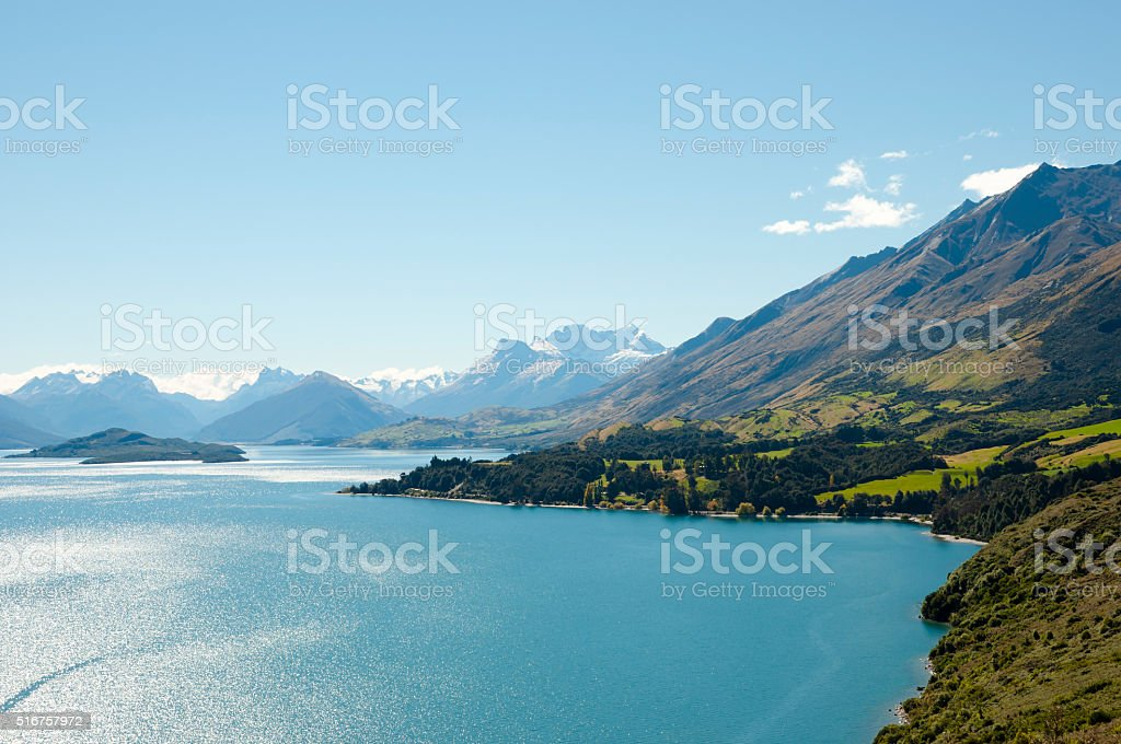 Lake Wakatipu - New Zealand stock photo