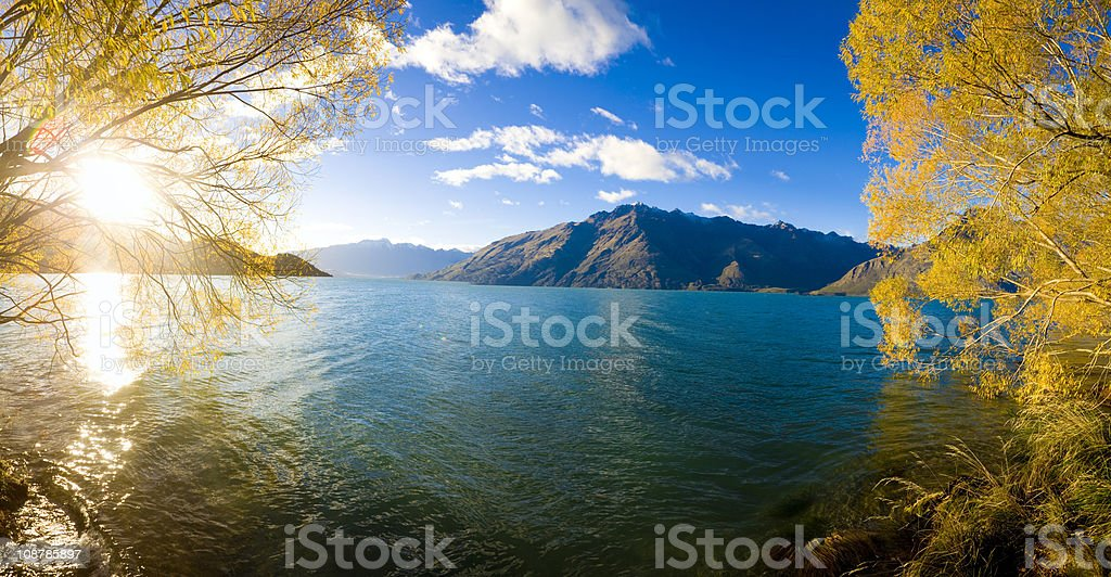 Lake Waktipu across from Queenstown, NZ stock photo