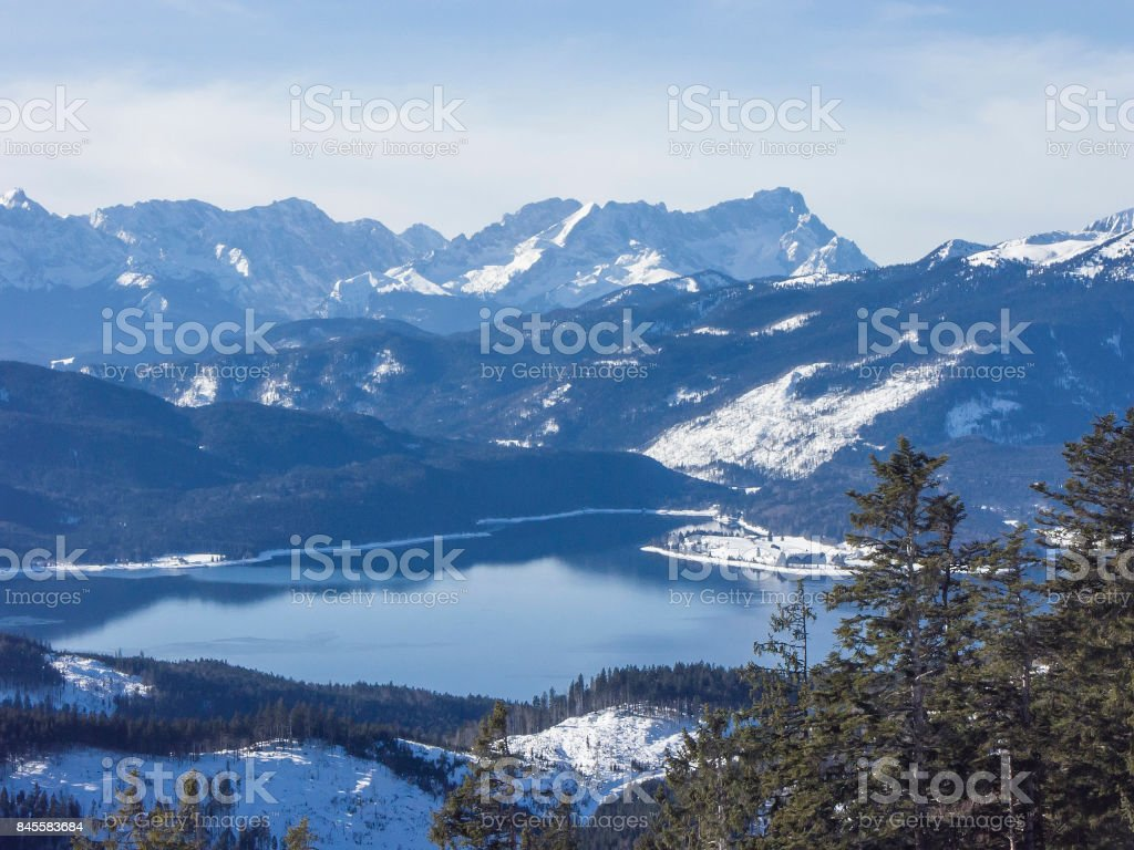 lake Walchensee in winter stock photo