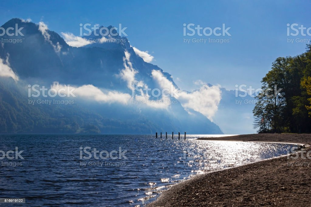 Lake Walensee in the morning light stock photo