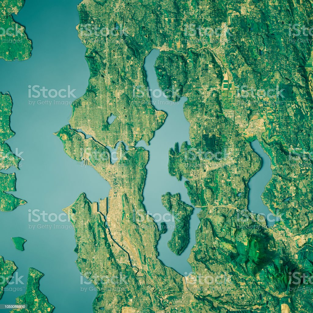 King County Topographic Map.Lake Washington 3d Render Topographic Map Color Stock Photo More