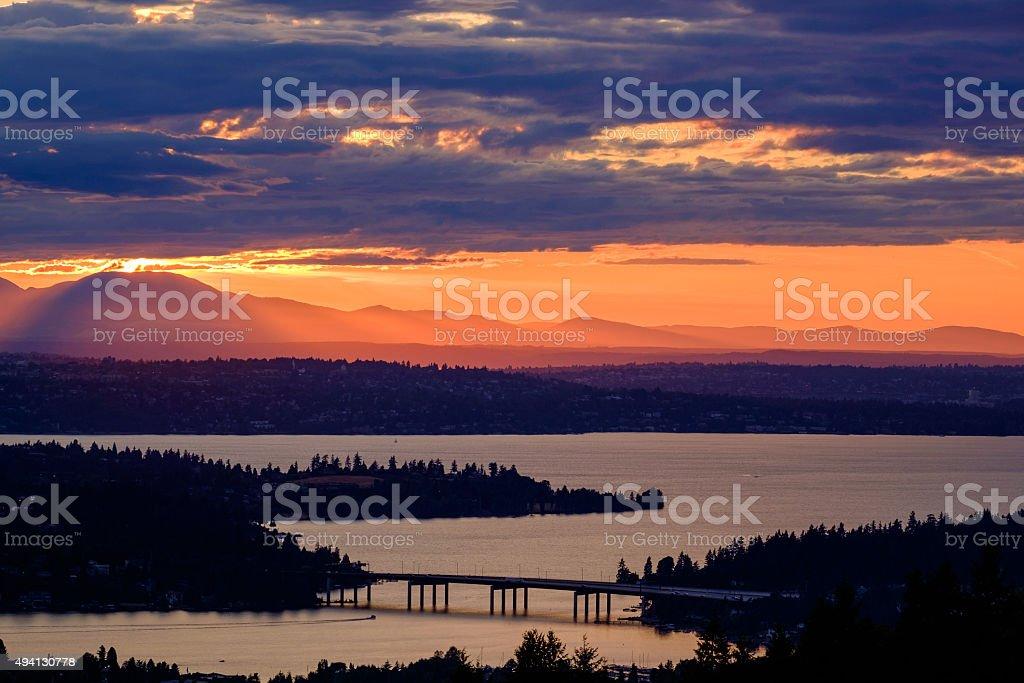 워싱턴 호수 위로 스톡 사진