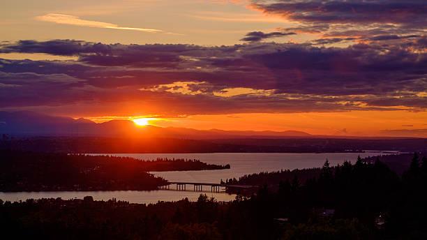 Lake Washington at Sunset stock photo