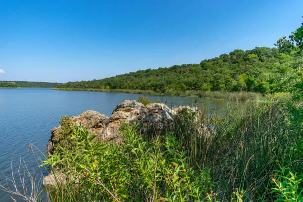 lake water rocks and plants stock photo
