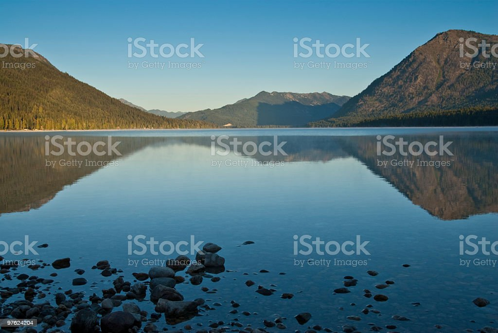 Mountains Reflected in a Lake at Sunrise royalty-free stock photo