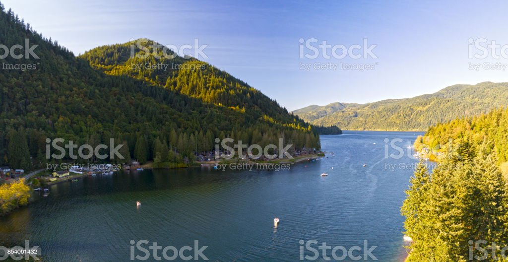 Lake Whatcom South Point Aerial Landscape View at Wildwood stock photo