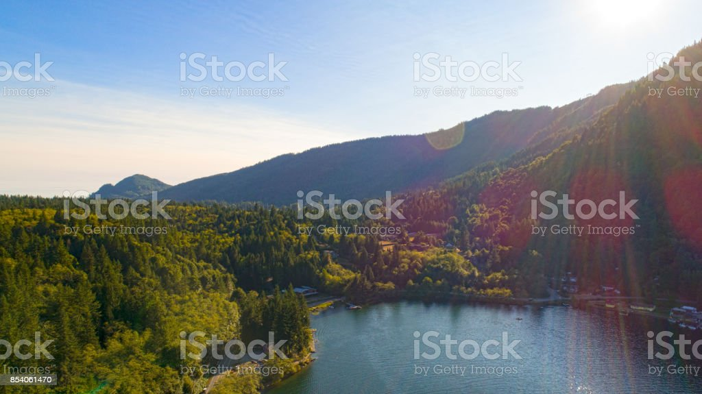 Lake Whatcom South Point Aerial Landscape View stock photo