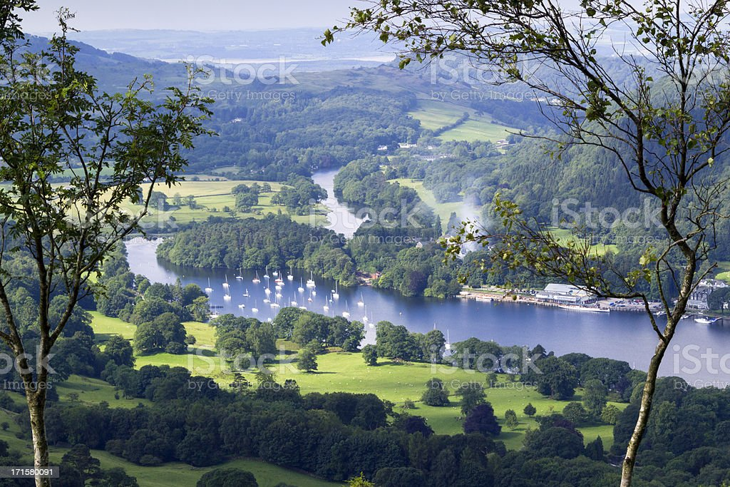 Lake Windermere a beautiful view of the lake on a lovely day stock photo