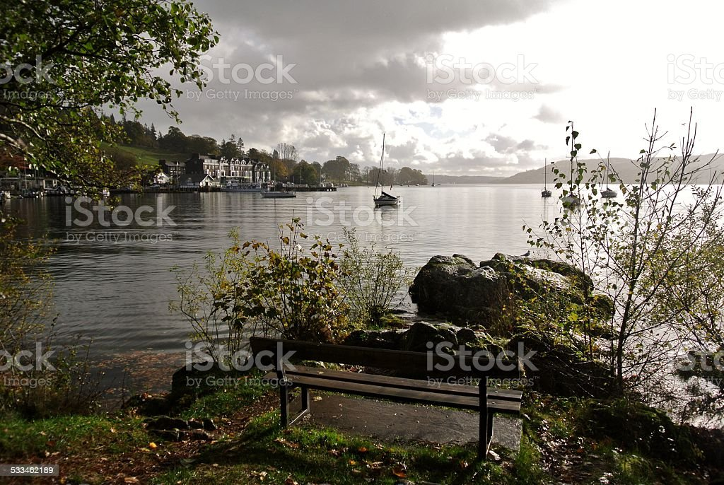 Lake Windermere and Ambleside on a Cloudy, Autumn Day stock photo