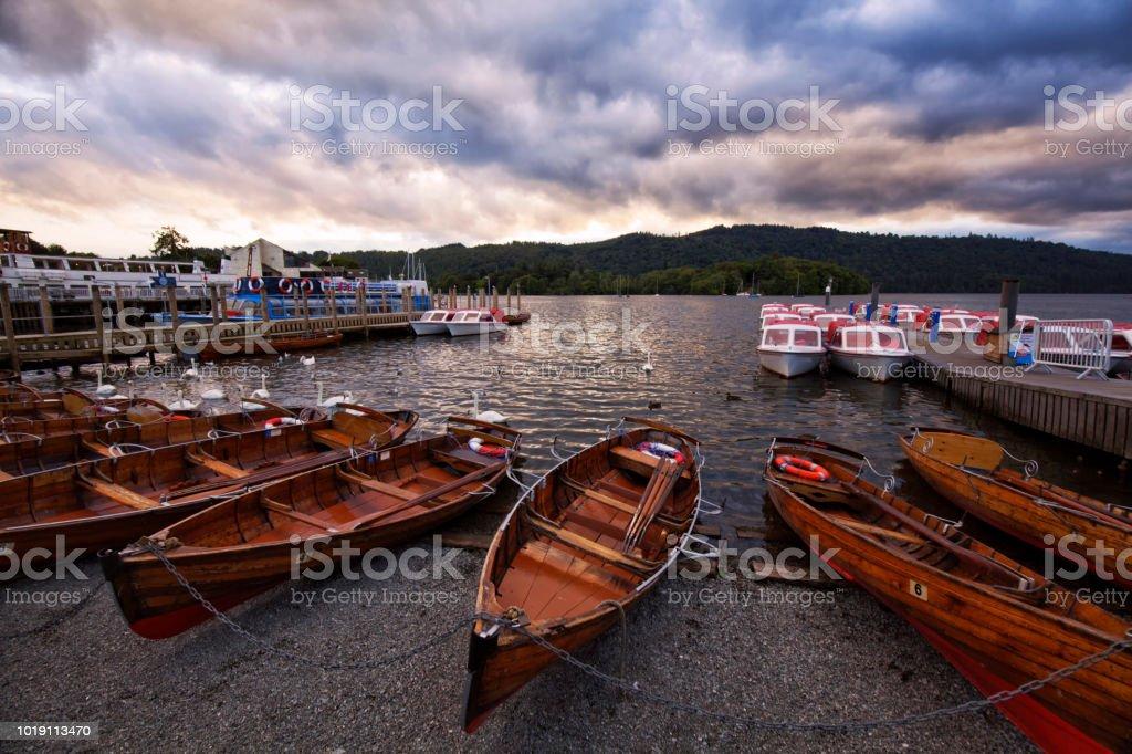 Lake Windermere at sunset, England, UK stock photo